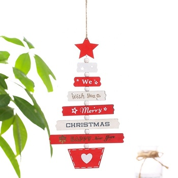 Wooden Christmas Tree Hanging Ornaments Korean Vintage Christmas Home Decorations