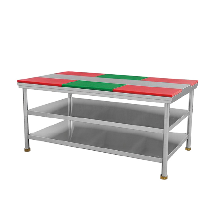 1800mm Assembling Stainless Steel Work Table With 6 Chopping Boards & 2-Layer Undershelf