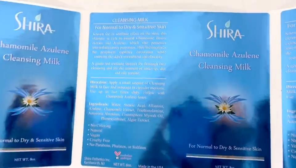 Belamente impresso vinil azul personalizado rótulo da embalagem de cosméticos garrafa de papel auto-adesivo à prova d' água