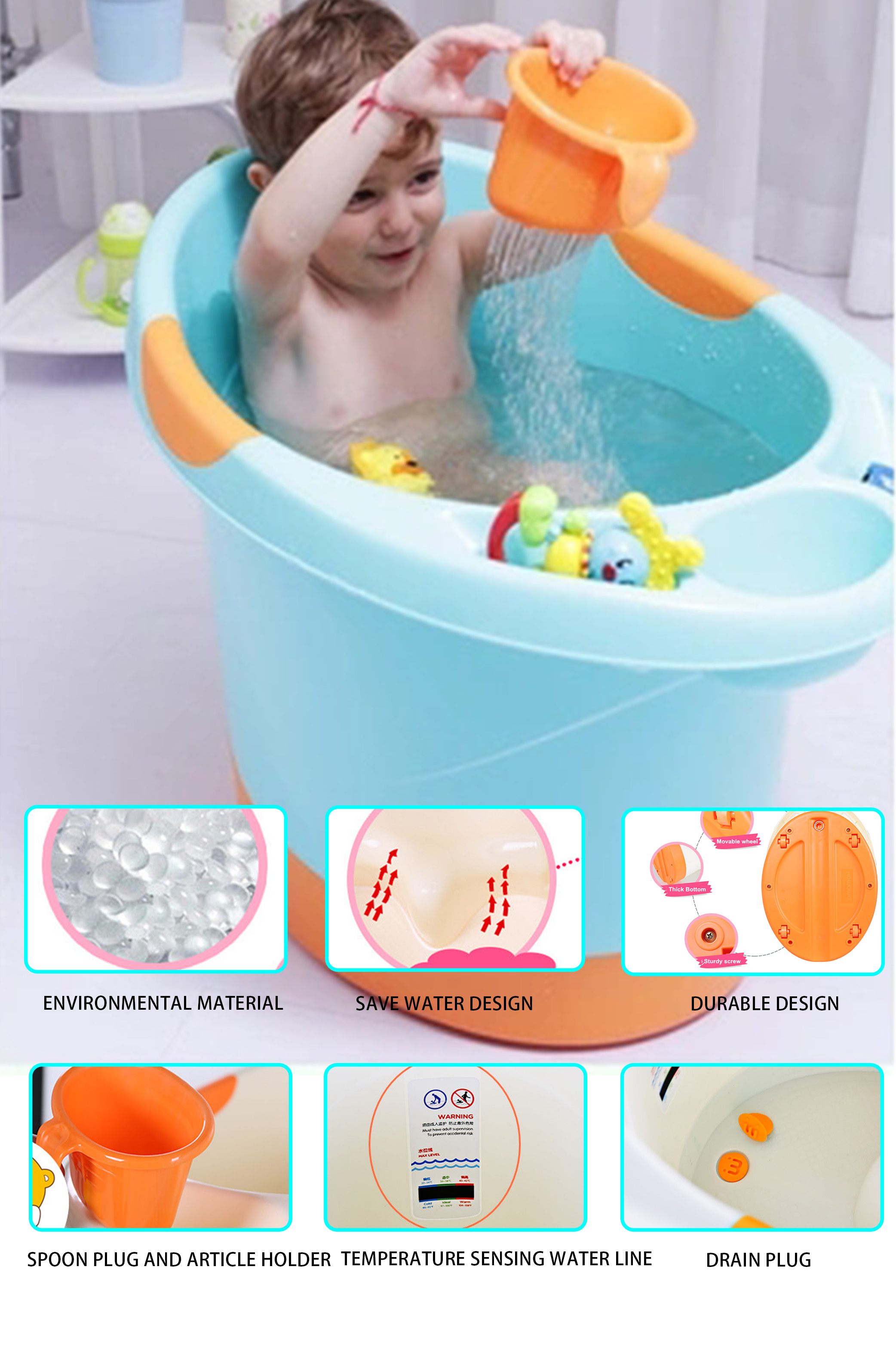 Safety claw baby bathtub bucket deep baby bathtub set with colors for girls and boys