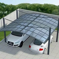 white metal frame 2 car parking canopy tent with polycarbonate sheet