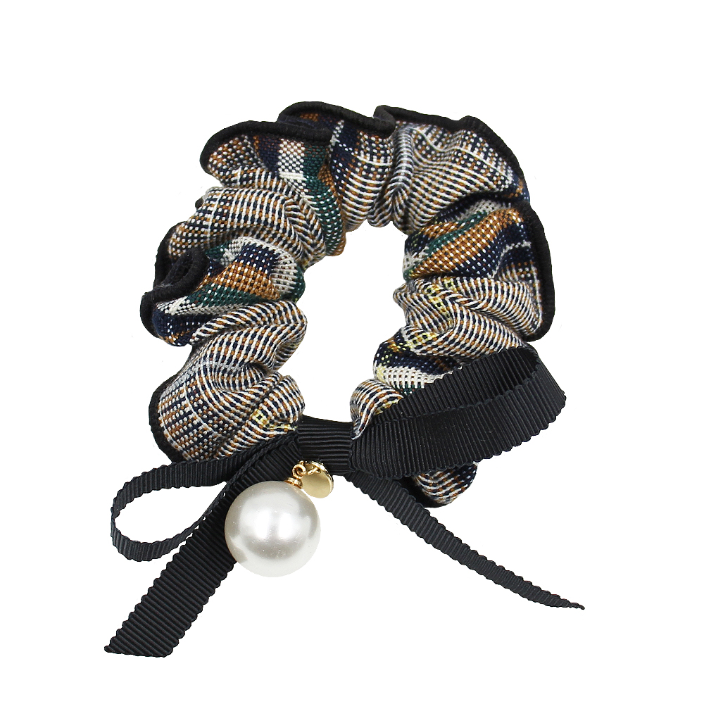 High Quality Cotton Scrunchies Custom Printed  Ponytail Holder Rabbit Ear Polyester Hair Pearl Scrunchie With Bow Linen