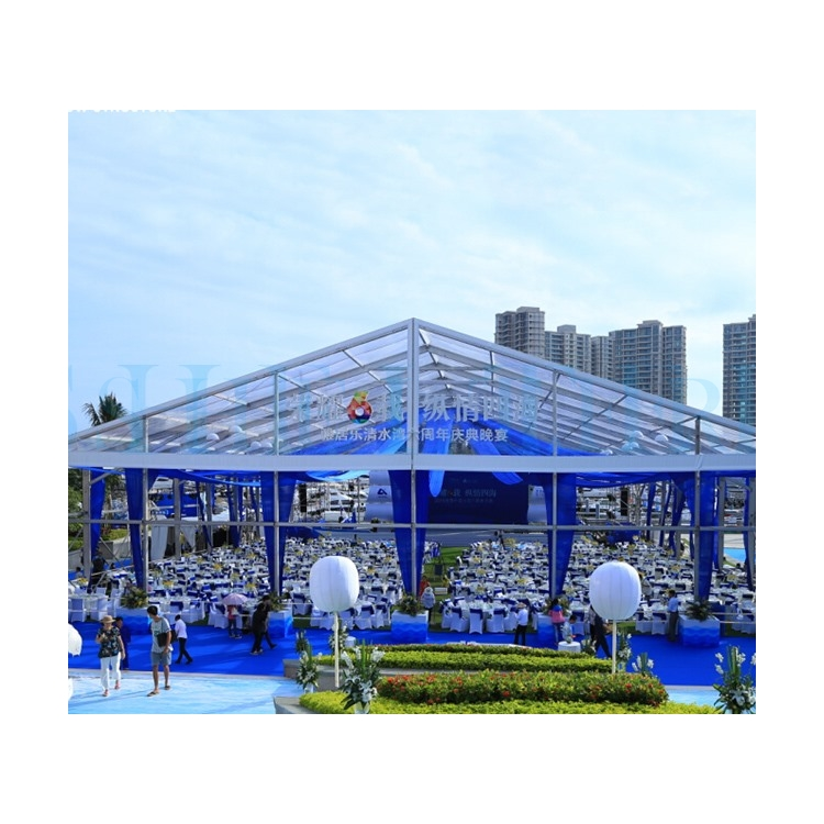 1000 people capacity clear span giant transparent banquet marquee tent for wedding event