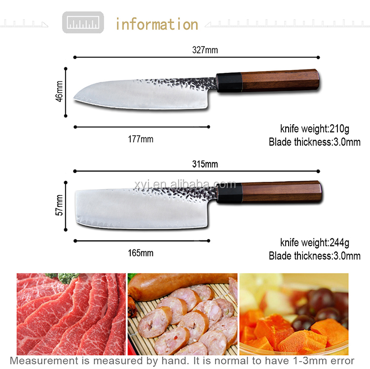 XYj VG10 7 Polegadas Santoku Damasco Aço Lâmina Afiada Faca de Cozinha Japonesa Nakiri Martelado Mão Forjado Damasco Jogo da Faca