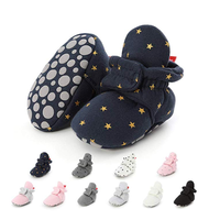 New fashion warm Cotton fabric stars print 0-2 years baby girl boots baby booties