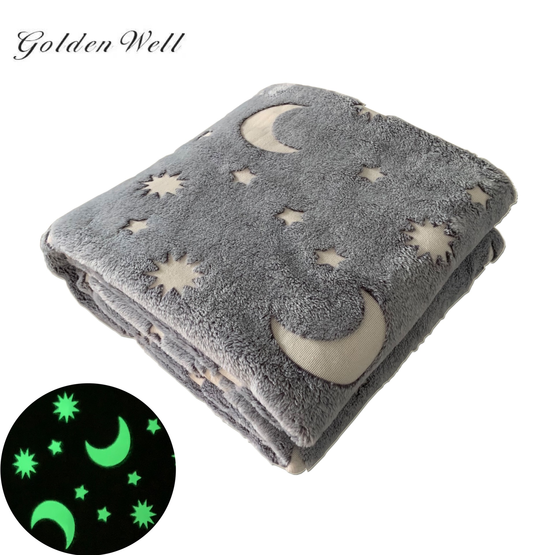 Healthy and Soft Flannel Fleece Blanket Glow in The Dark Blanket with Star Moon Fun Gift for Kids Boys Girls