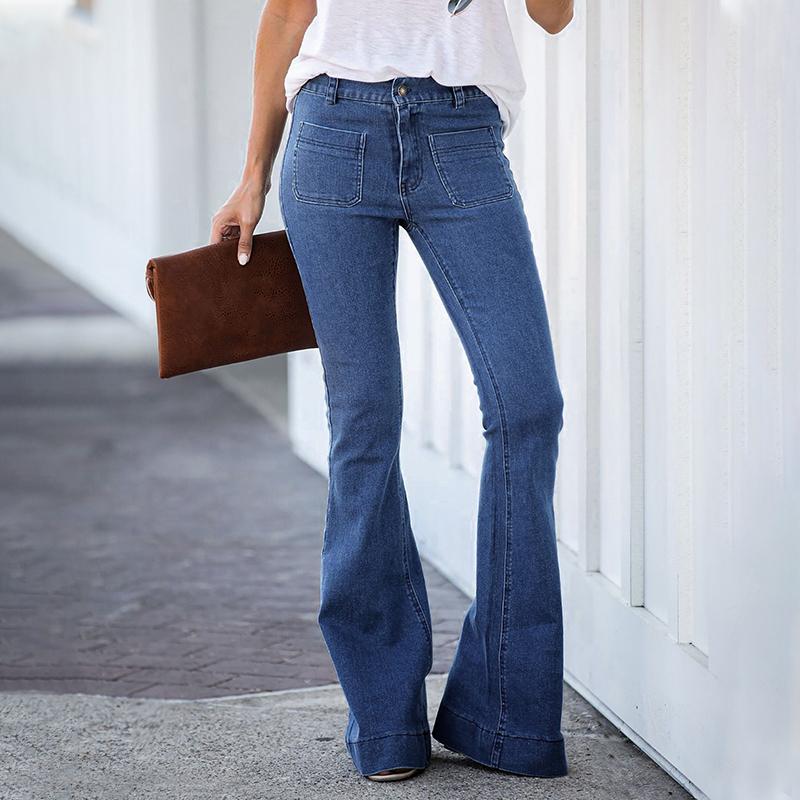 Spring And Autumn Women Blue Denim Wide Leg Jeans