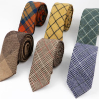 New Style Wool Viscose Tie 7cm Ties Fluffy Streak Corbata Slim Striped Necktie Cravat Clothing Accessories Warm Grid Ties