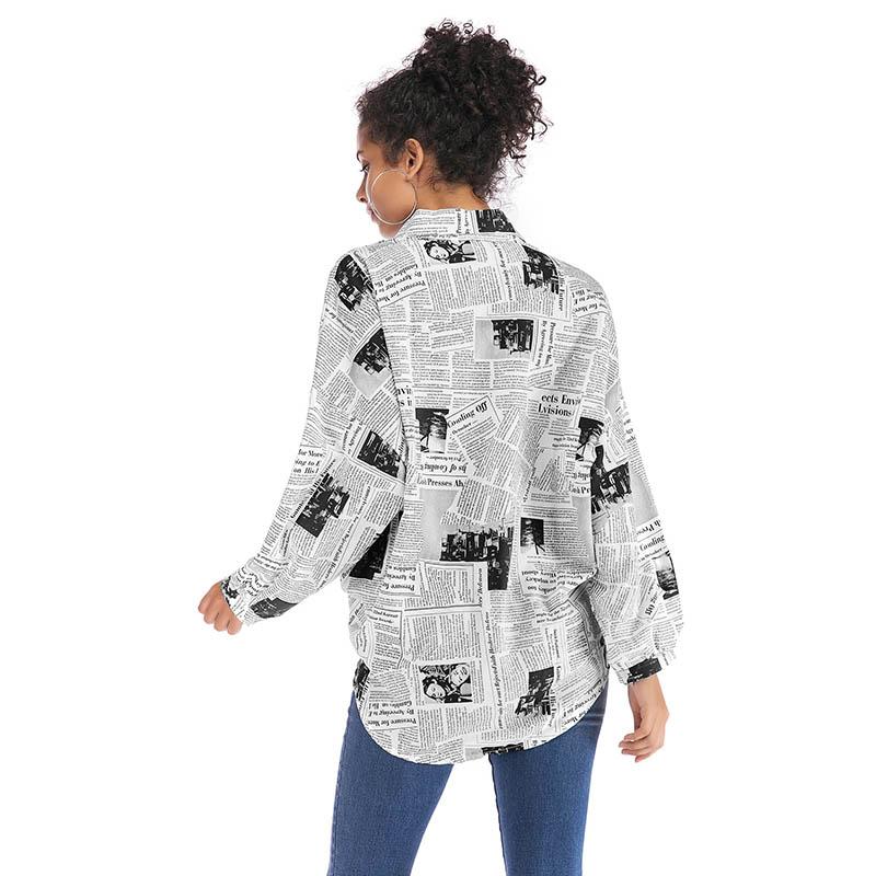 2020 águila estrella de moda alfabeto periódico impreso camiseta de las mujeres de la solapa de Single-breasted camisa