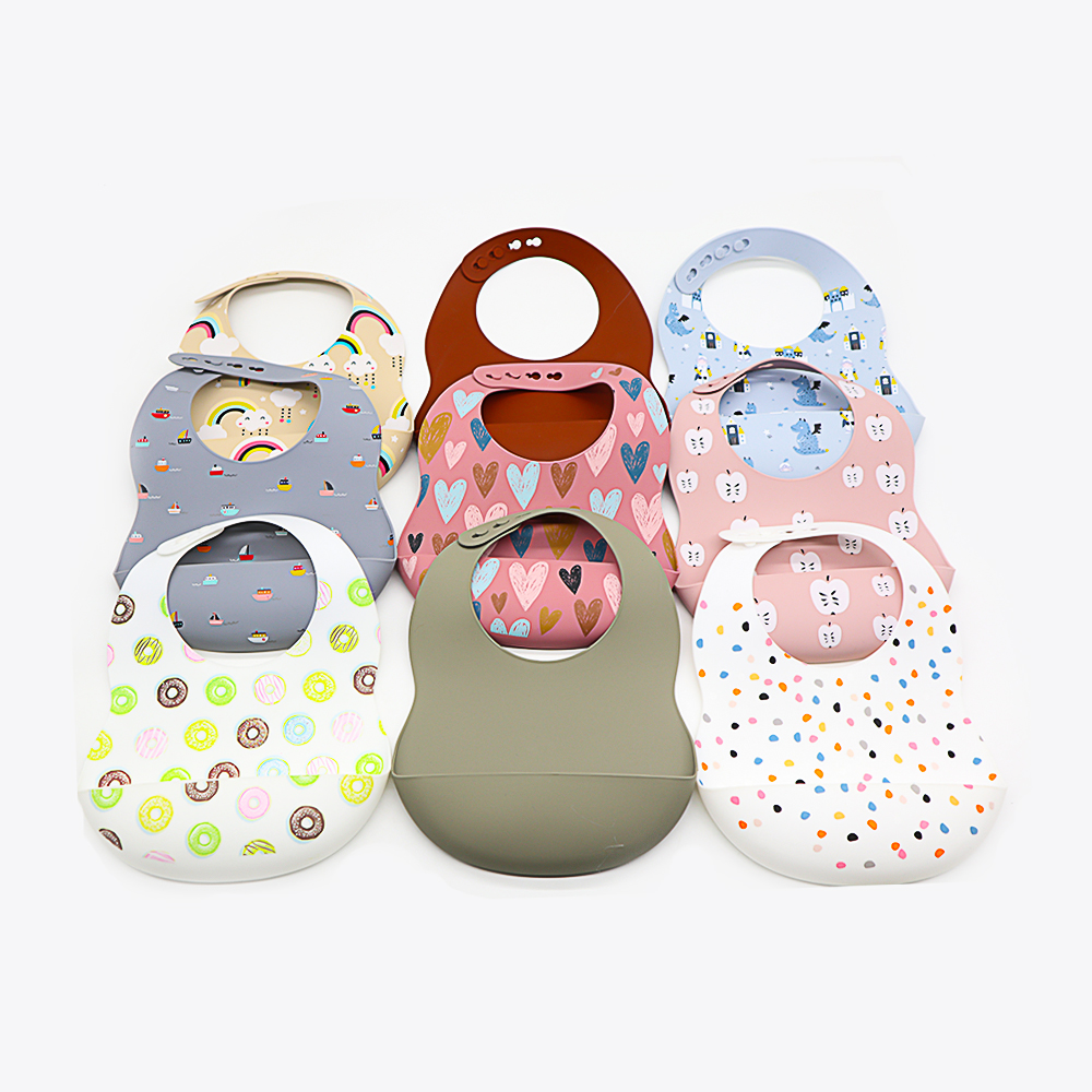 Food Grade baby product Soft Waterproof Easy Clean Silicone Bibs Silicone Baby Bib
