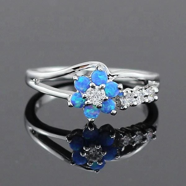 Hot Style 925 Silver Rhodium Plated Jewelry Flower Shape Blue ,White ,Pink Fire Opal Ring