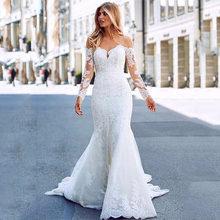 Женское свадебное платье SoDigne, роскошное платье с аппликацией в виде русалки, с открытыми плечами и длинными рукавами, модель 2020(Китай)