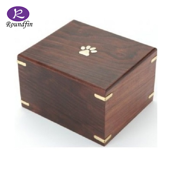 Roundfin Brass Paw Inlaid RoseWood Wooden Pet Cremation Urn for Dogs Cats Ashes