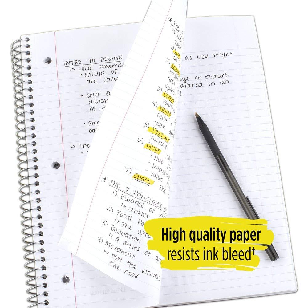 5 konu spiral defter, Kolej Çizgili Kağıt, 200 Sayfa, 11x8-1/2 inç, Siyah, beyaz, 2 Paket