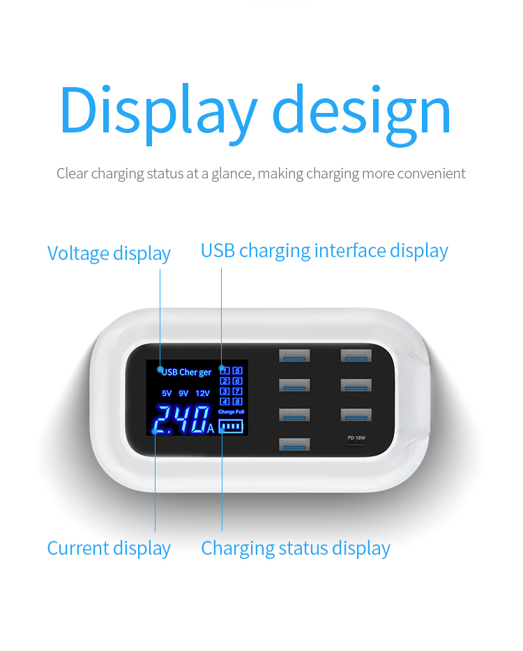 Doolike Fabriek Nieuwe Mal 40 W Charger Multi Usb Charger Station 8 Poorten Usb Uitgang TYPE-C Pd Quick Lading