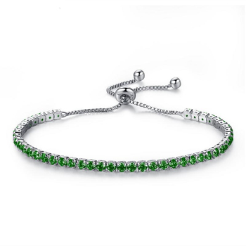 Colorful Women White Gold Plated Copper Adjustable AAA Cubic Zirconia Diamond Tennis Bracelet