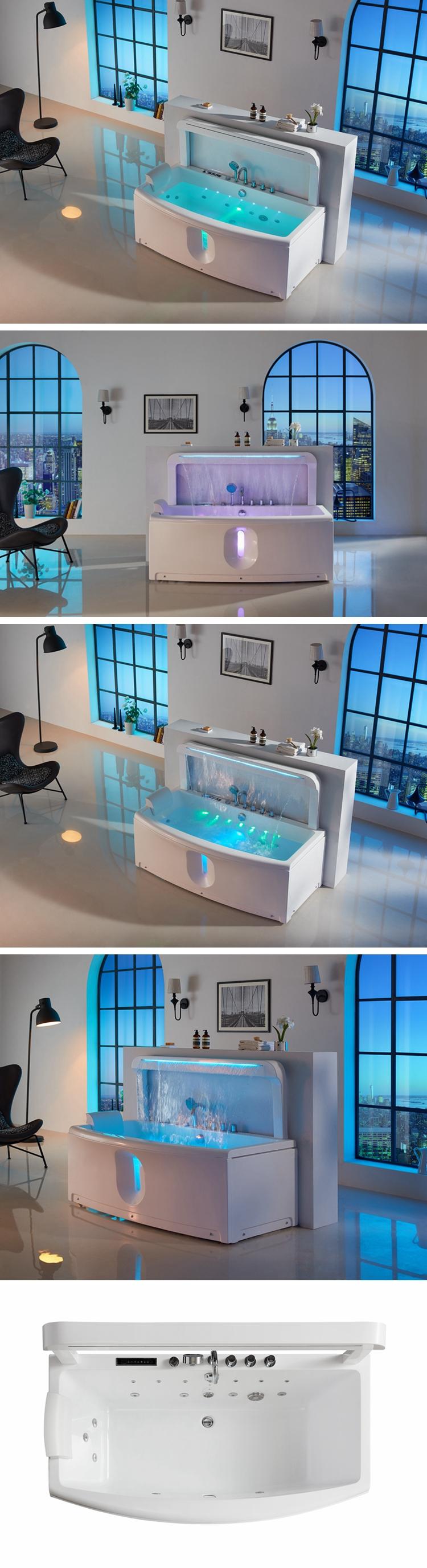 waterfall acrylic whirlpool massage bathtub bath tub whirlpool