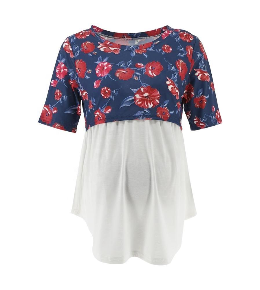 Лидер продаж; Платье для беременных с закругленным носком с короткими рукавами и принтами контрастного цвета, комбинированная футболка анти-освещение грудного вскармливания Топ