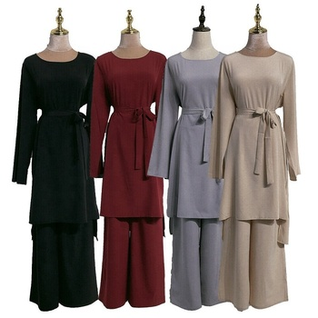 Newest muslim women 2pcs top pant dubai abaya dress solid color casual dress