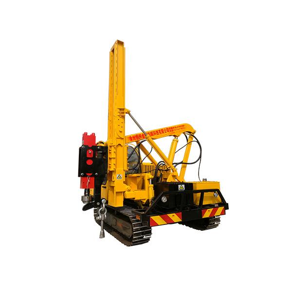 Hydraulic pile driving machine to install flex beam guard rails