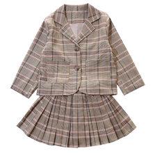Детский комплект одежды для девочек, осенний костюм для девочек-подростков, клетчатая куртка, брюки, 2 шт., школьный детский спортивный костю...(Китай)
