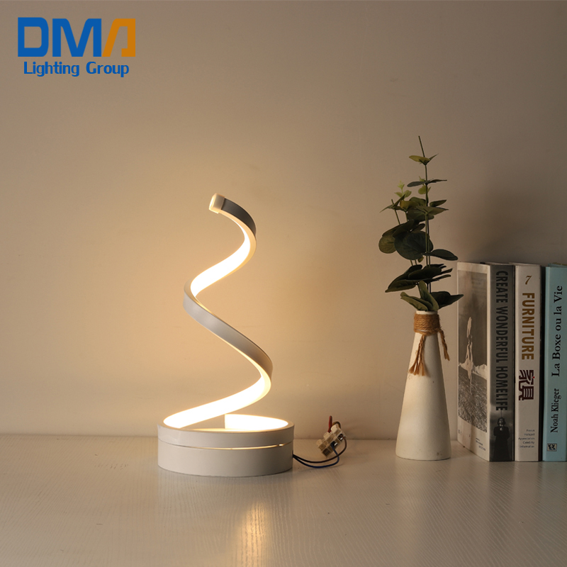 Art <strong>spiral</strong> design acrylic night reading LED table <strong>lamp</strong>