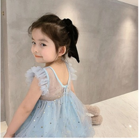 New Kid Baby Girl Sequin Princess Dress Girl Stars Print Ruffle Fly Sleeve Wedding Party Tulle Tutu Dress Mesh Patchwork Dress