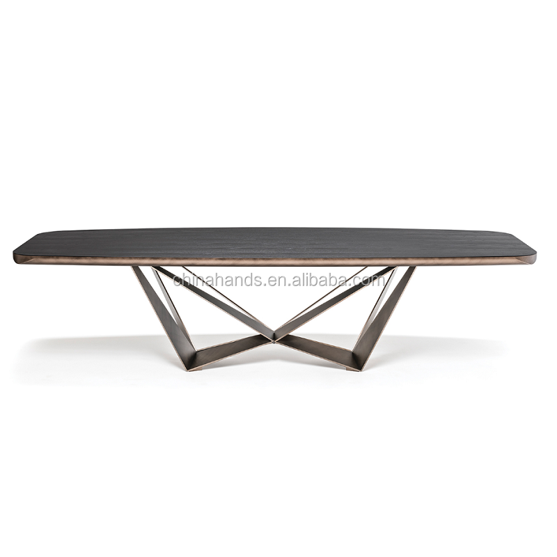 MoMA Hotel Restaurant Supplies Modern Furniture Set Stainless Steel Metal Legs Solid Teak Wood Dinning Table
