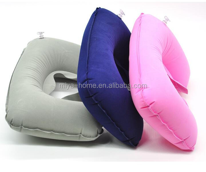 Outdoor portable U-shaped pillow / travel air inflatable flocked pillow / PVC neck pillow