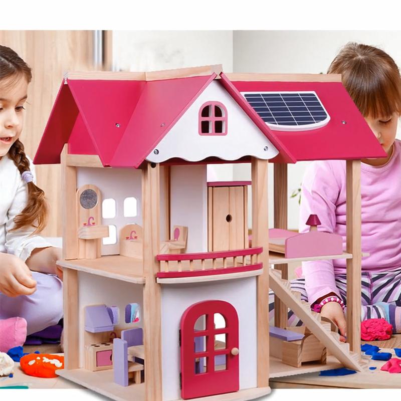 Kinderen Speelhuis Tool Prinses Roze Villa Houten Diy Puzzel Montage Huis Houten Meubels Speelgoed
