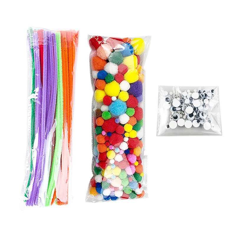 Melhor Preço Limpadores De Cachimbo Chenille Stem Wiggle Olhos de Plástico Pom Pom Artesanato Pack Set Para As Crianças
