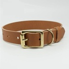 Brass Dog Brass and Brown Genuine Leather Dog Collar