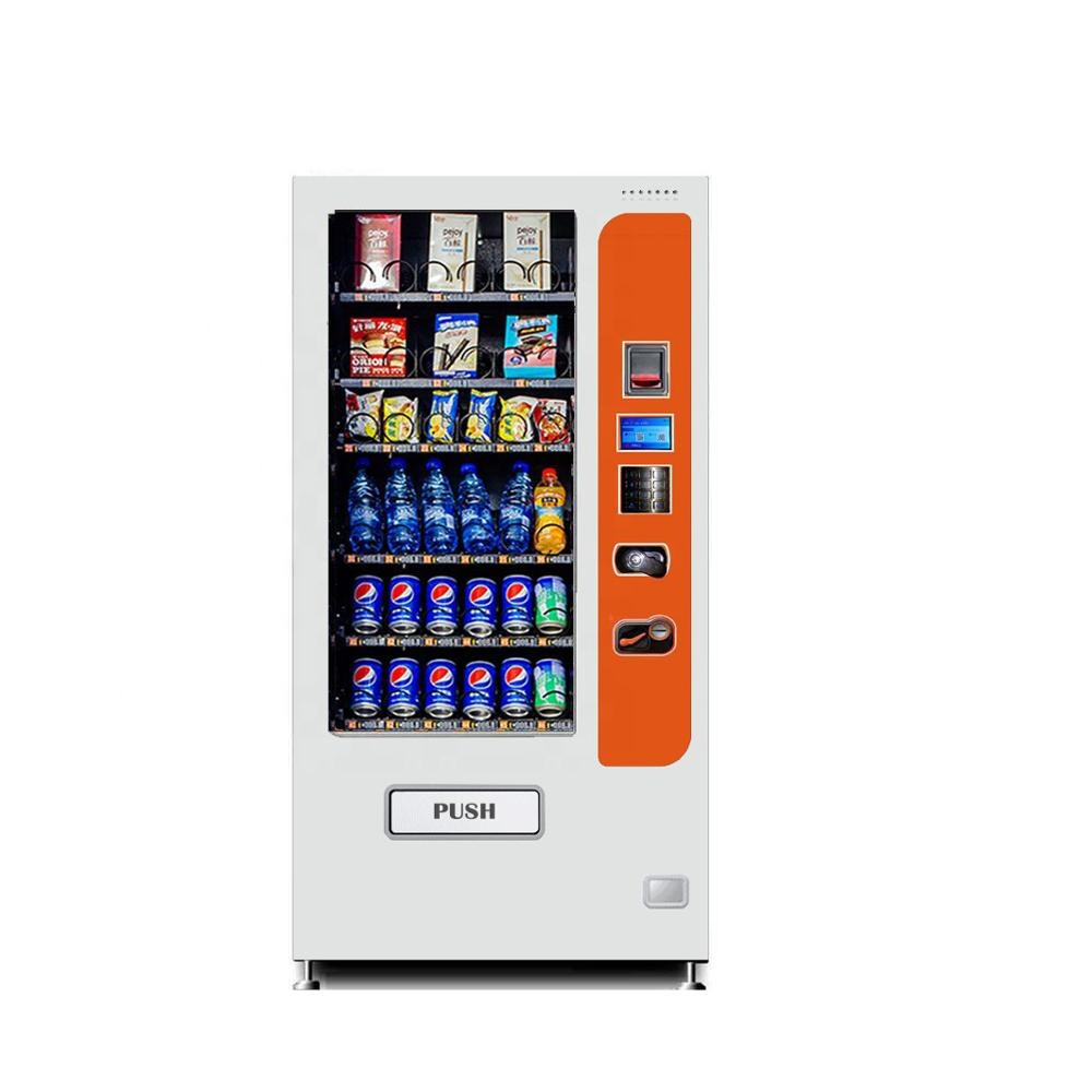 Slim combo snack drinks vending machine with refrigerator
