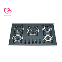 Built-in Cooktop Tempered Glass Gas Hob 5 Burner Gas Stove