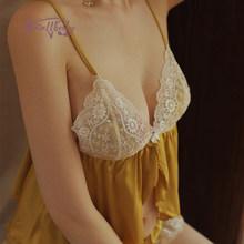 Серия цветов, сексуальные шелковые пижамы для женщин, летняя одежда для сна, искушение, вышивка, кружевной бант, ремень, топы и шорты, комплек...(Китай)