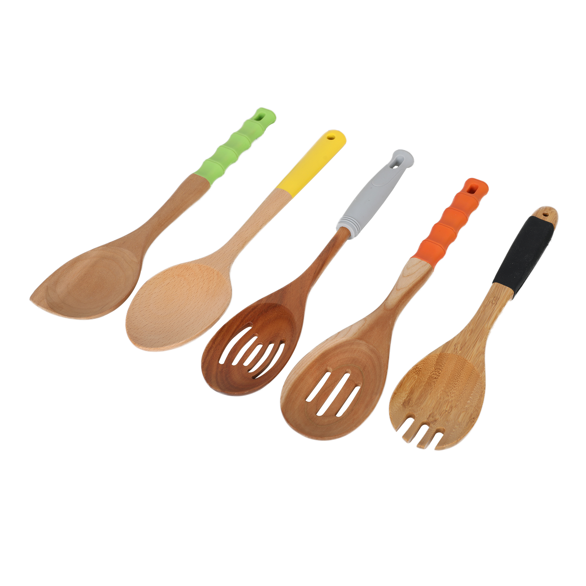 Hot Sale Beech Wood Cooking Kitchen Utensils Set with Painting Silicon Handle