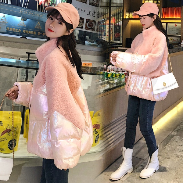 2019 ダウンジャケット子羊の毛皮のコート女性のウールの襟襟のコートの綿の服