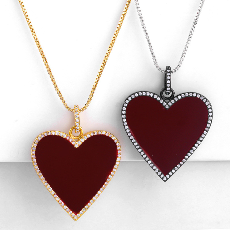Hotsale Design Vintage Jewelry Full Cubic Zirconia Heart Pendant Necklace Gold Silver Chain Oil Dripping Love Heart Necklace