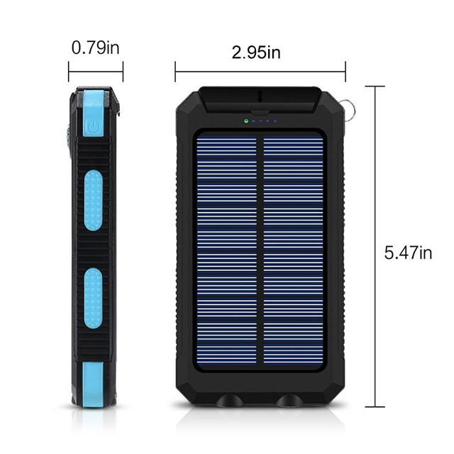 2019 New Products 10000mah waterproof power bank wireless mobile phone solar battery charger