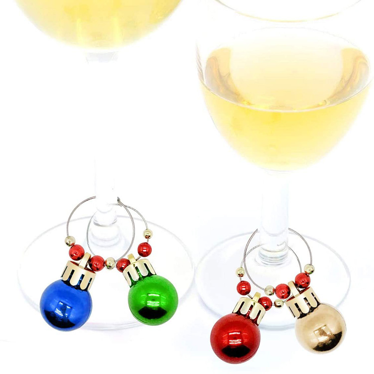 New Designed Ball Ornaments Christmas Wine Glass Charms for Stem Glasses Wine Drinker Gift Wine Tasting Party Favors Decorations