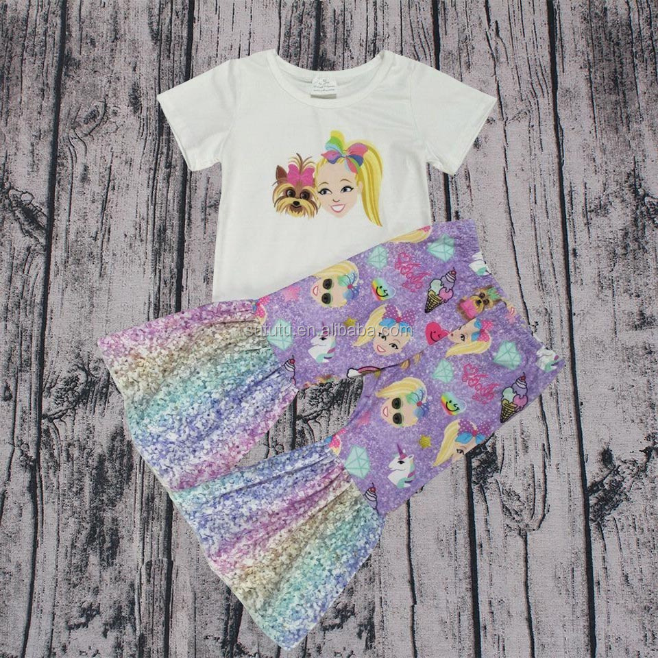 Fashion Hot Sale Wholesale Stock Ready to ship Top Ruffle Pants 2 Pcs Boutique Outfit Adorable Infant Baby Girls Clothing Set