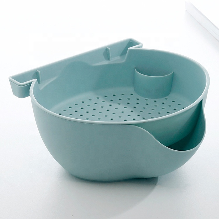 AFTCE092 2-in-1 Double Layers Wheat Straw Plastic Dry Fruit Bowl Drain Basket