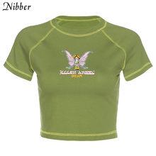 Nibber Милая графическая футболка с ангелом, женский укороченный топ, 2020, летняя Уличная Повседневная одежда, базовая тонкая футболка, футболк...(China)
