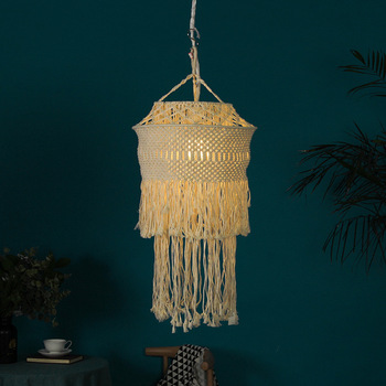 Handcraft Art DIY Macrame Lamp Light Cotton Lampshade