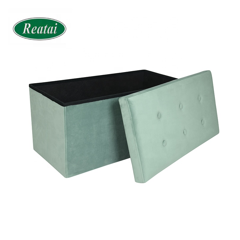 Reatai Wholesale price soft velvet foldable storage ottoman bench with button bedroom storage bench box