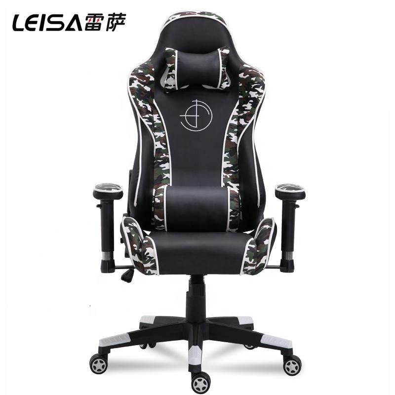 등받이 육군 위장 컬러 인체 공학적 회전 위장 군대 가죽 빛나는 RGB 게임 회전 의자 Legrest