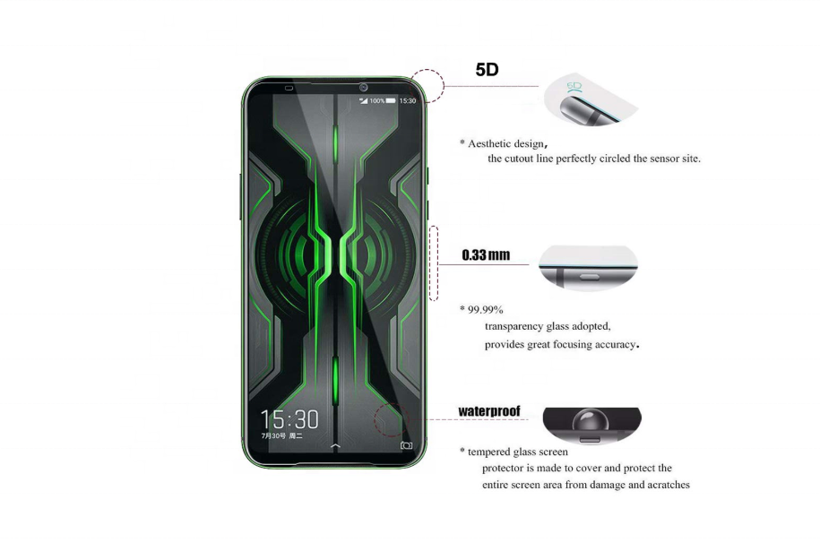 9H Hardness Shatter Proof Tempered Glass Film 5D Screen Protector for Xiaomi Black Shark 2 Pro