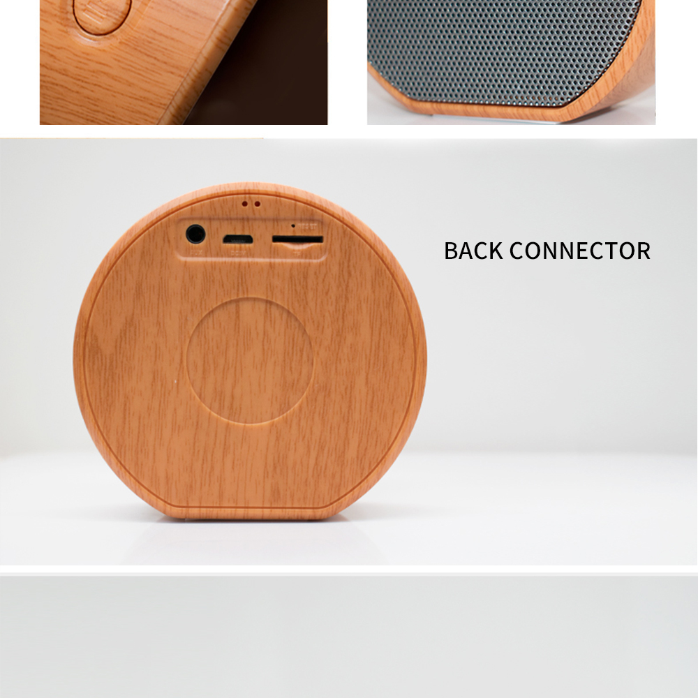 2021 wooden style design bluetooths speaker portable A60 MP3 Player FM Radio Audio TF Card USB Handsfree wood wireless speaker