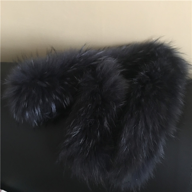 Long hair raccoon fur wool trim