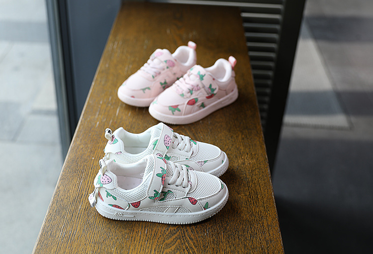 High quality strawberry printing mesh airsport child's kids children shoes toddler shoes